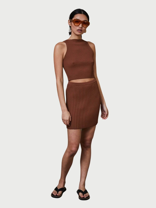 Bec + Bridge Deja Vu Mini Skirt Chocolate | Perlu