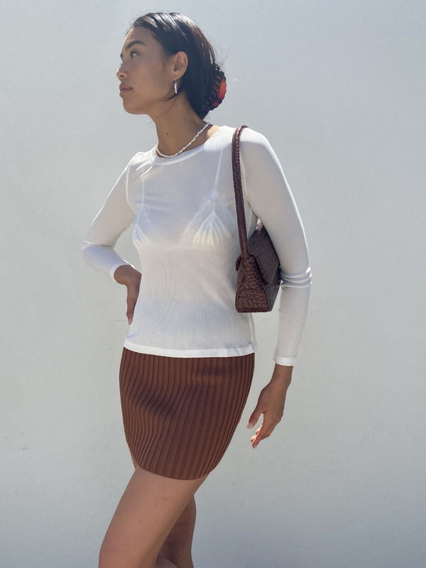 Deja Vu Mini Skirt - Chocolate Skirts Bec + Bridge