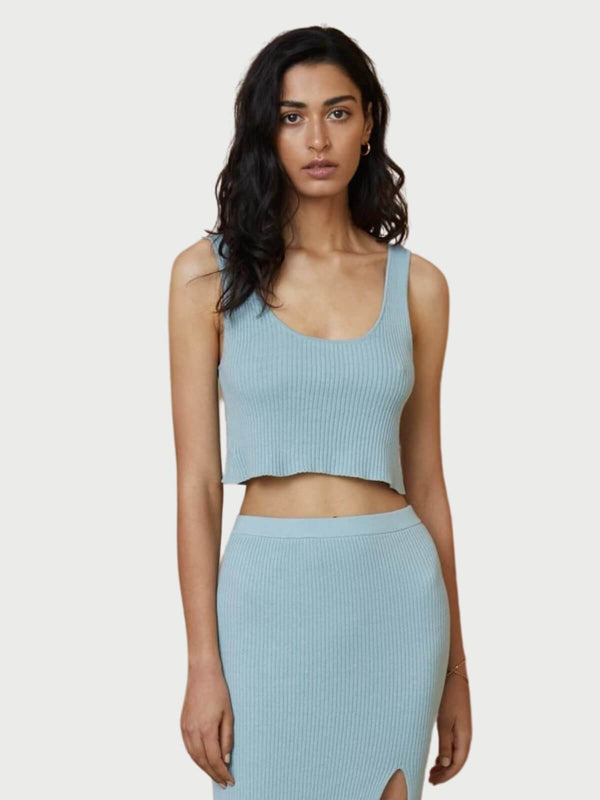 Bec + Bridge Margot Knit Crop Top Duck Egg | Perlu