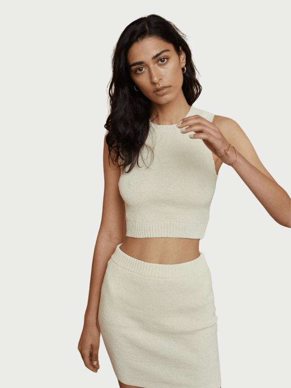 Bec + Bridge Mimi Knit Crop Top Butter | Perlu