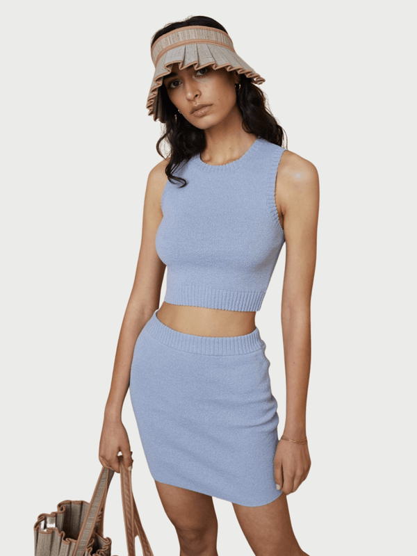 Bec + Bridge Mimi Knit Crop Top Silver Blue | Perlu