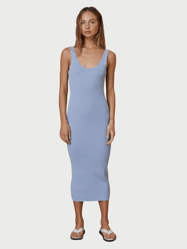 Bec + Bridge Mimi Knit Midi Dress Silver Blue | Perlu