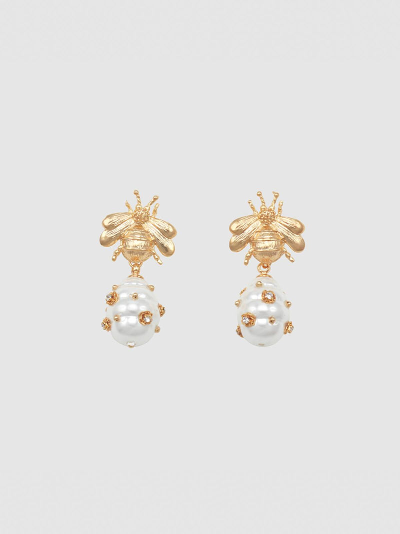 Jolie & Deen | Bee and Pearl Earrings | Perlu