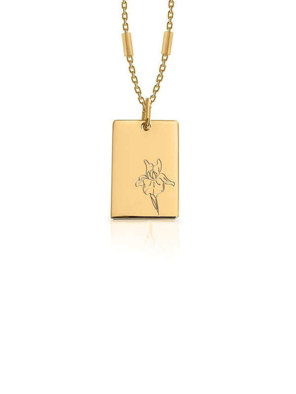 Birth Month Flower Necklace February - Gold | Perlu