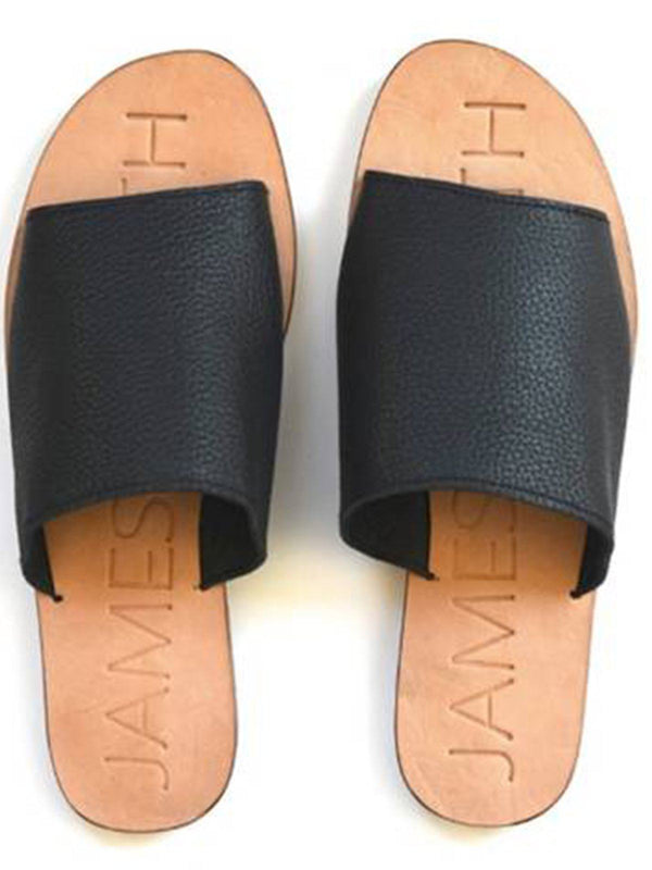 James Smith Off Duty Leather Slides - Black/Natural