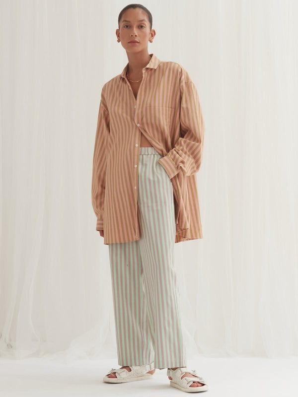 Blanca Tina Shirt Pink Brown Stripes | Perlu