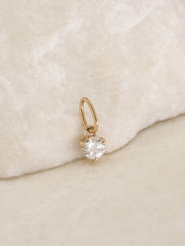 By Charlotte | 14K Gold April Birthstone Pendant | Perlu