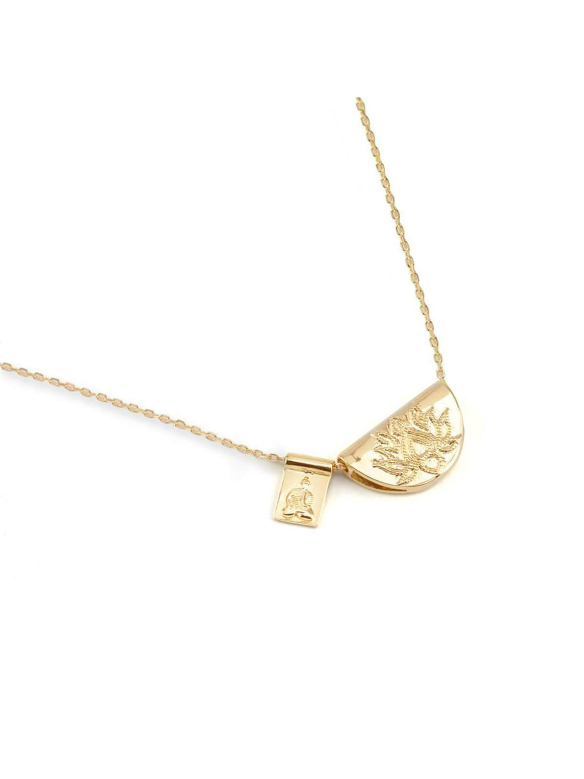 By Charlotte Gold Lotus Little Buddha Necklace | Perlu