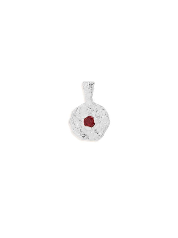 By Charlotte | July Ruby Birthstone Pendant - Silver | Perlu
