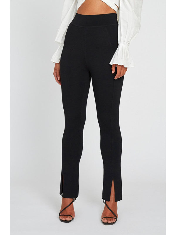 Knit Split Front Pant - Black Pants By Johnny