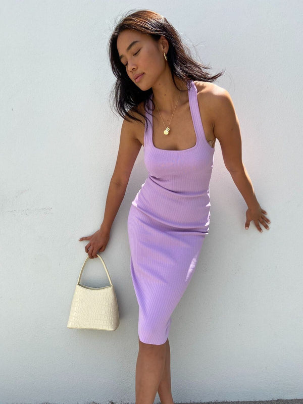 By Johnny T Bar Rib Midi Dress Lilac | Perlu