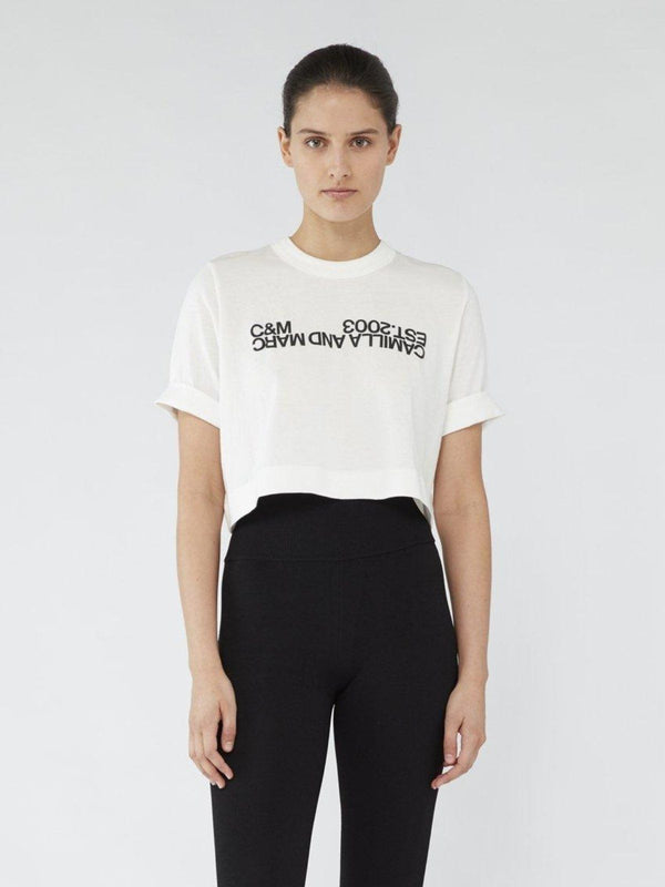 Camilla and Marc Amelia Crop Logo White Black | Perlu