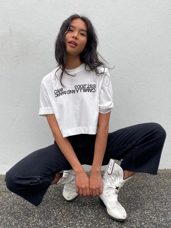 Amelia Crop Logo Tee - White/Black