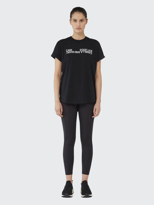 Huntington 2.0 Tee - Black with White logo Tops Camilla and Marc