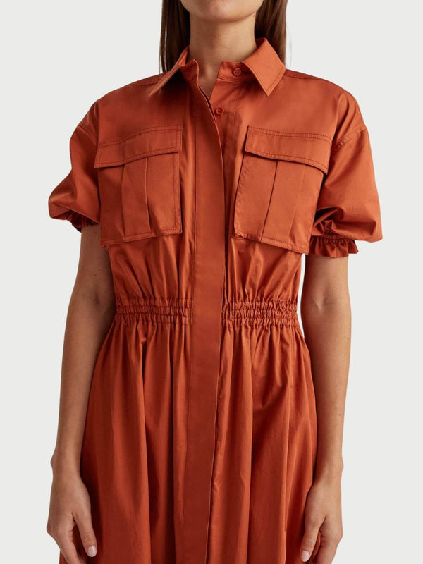 Camilla and Marc Mia Puff Sleeve Shirt Dress Rust | Perlu