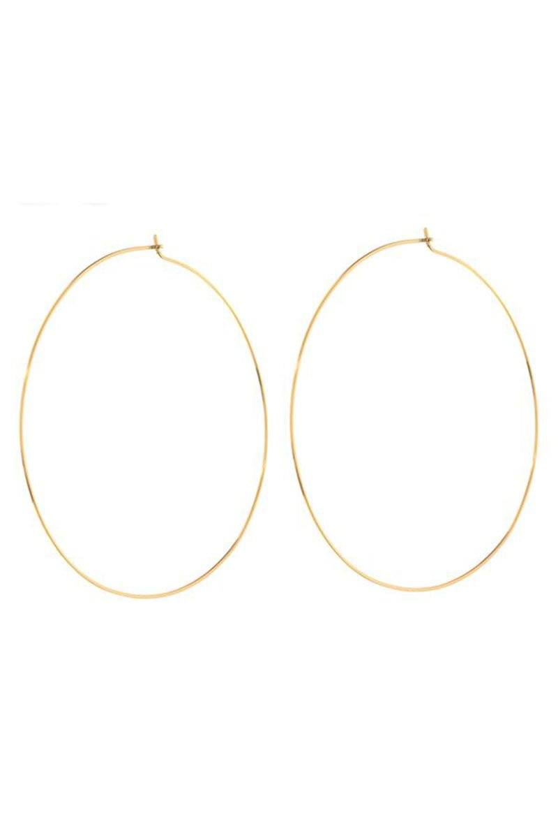 The Capri Wire Hoops Earrings Luv AJ Gold