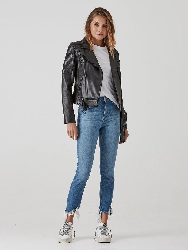 Ena Pelly Classic Biker Leather Jacket - Black with Black hardware | Perlu