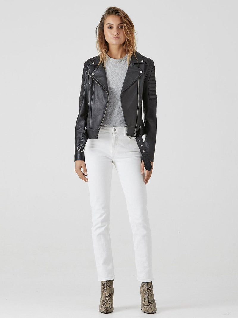 Ena Pelly Classic Biker Leather Jacket - Black with Silver hardware | Perlu |