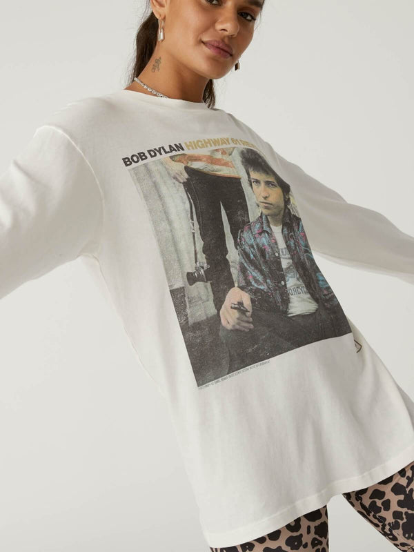 Daydreamer Bob Dylan Highway 61 Oversized Long Sleeve - Vintage White | Perlu