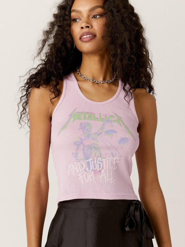 Daydreamer Metallica Justice For All Ribbed Tank - Lilac | Perlu