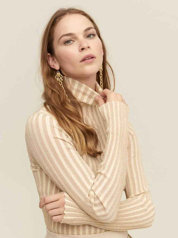 Lover I Gimme Shelter Roll Neck Knit - Beige I Perlu