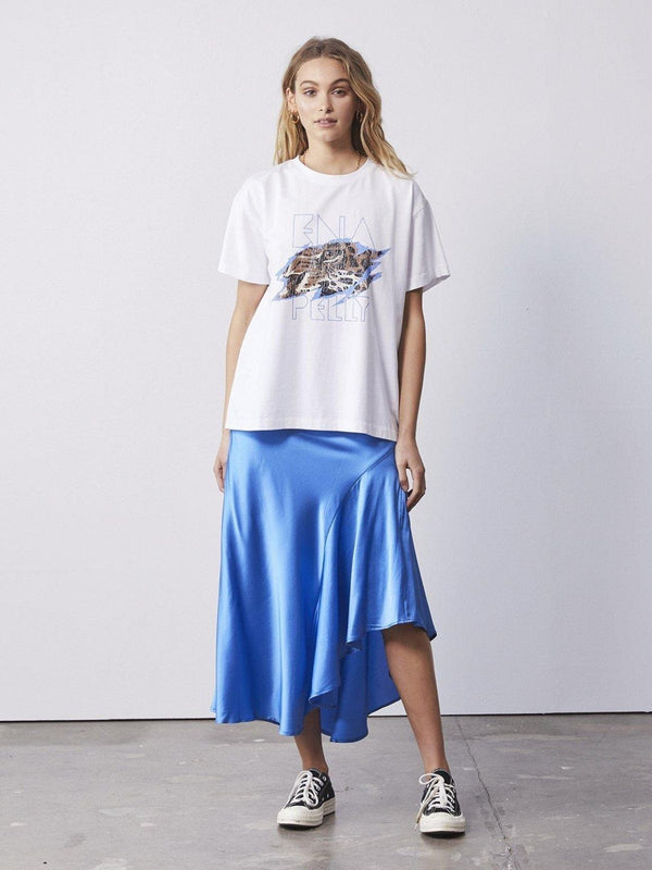 Ena Pelly Asymmetrical Slip Skirt Electric Blue | Perlu