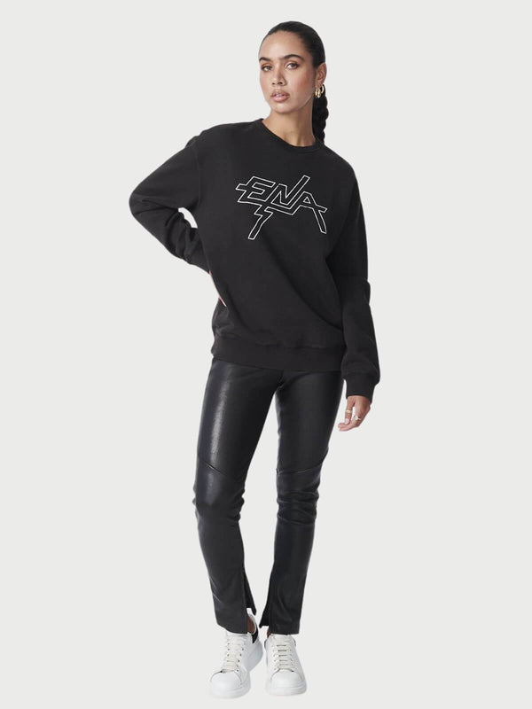 Ena Pelly Block Logo Sweatshirt Washed Black | Perlu