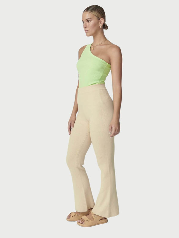 Ena Pelly One Shoulder Rib Top Green Ash | Perlu