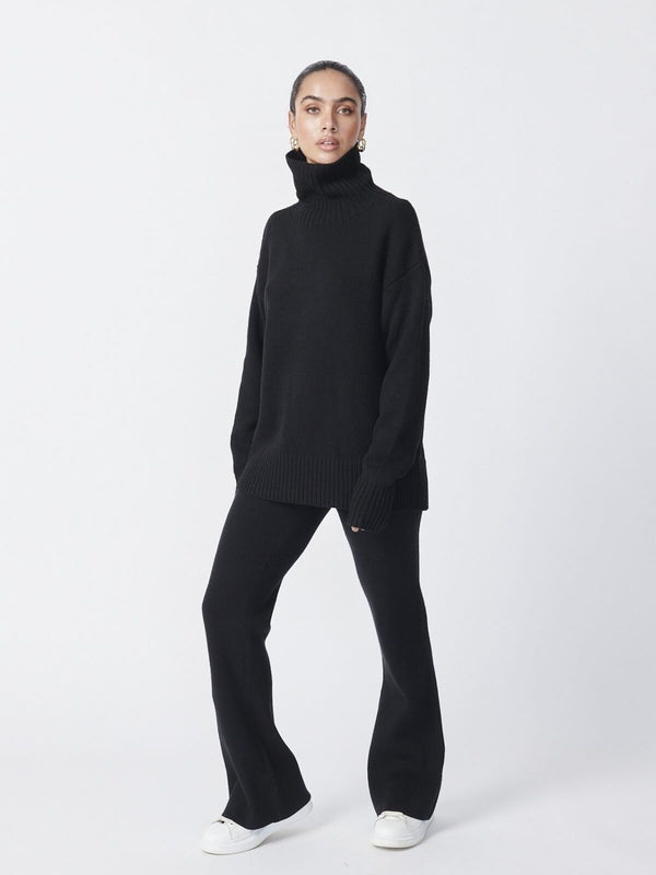 Ena Pelly Roll Neck Knit - Black | Perlu