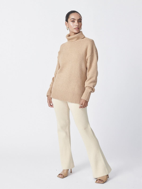 Ena Pelly Roll Neck Knit Camel | Perlu