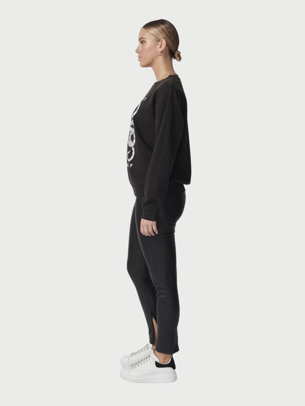 Ena Pelly Yin Yang Sweatshirt Washed Black | Perlu