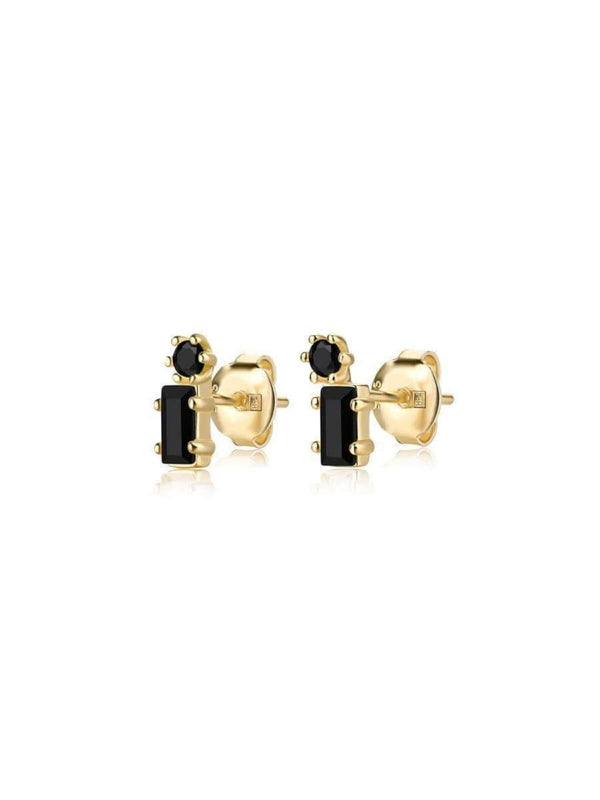 F+H Billy Idol Gemstone Studs 18K Gold + Black Spinel | Perlu