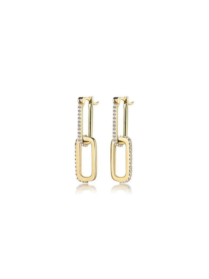 Double Dylan GemstoneF+H Jewellery |  Link Earrings: Brass + 18K Gold + Topaz | Perlu