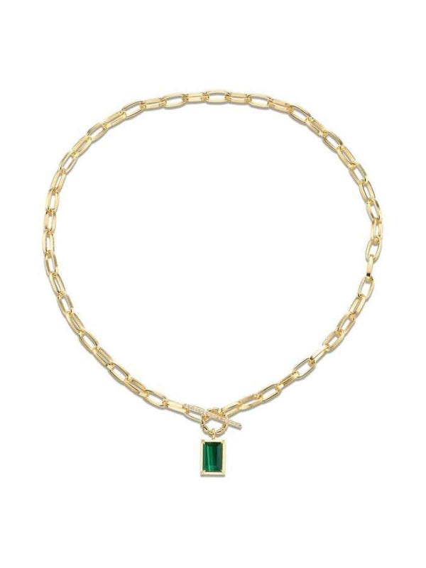 Wham Necklace: Brass + 18K Gold + Malachite Necklaces F+H Jewellery