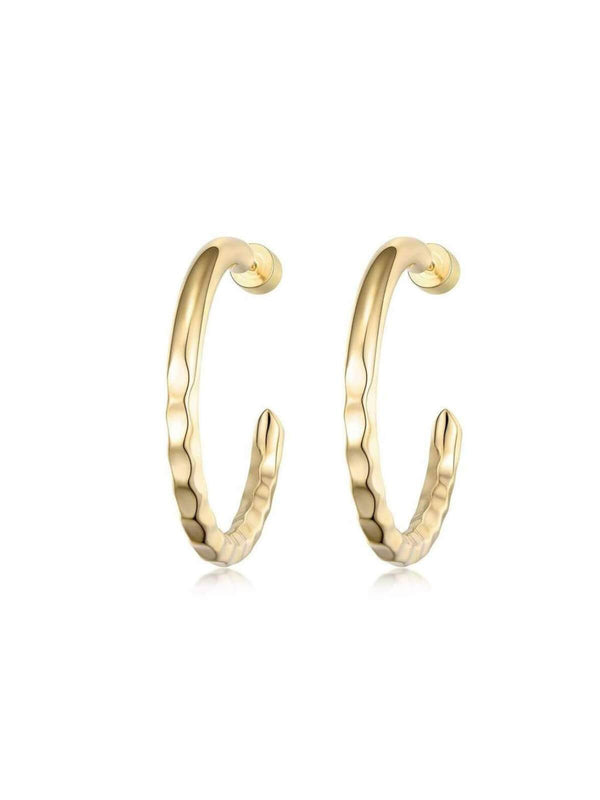 F+H Nailed It Hammered Hoops Small Brass 18K Gold | Perlu