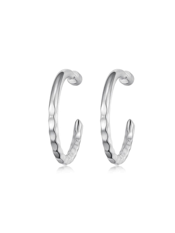 F+H Nailed It Hammered Hoops Brass Sterling Silver | Perlu