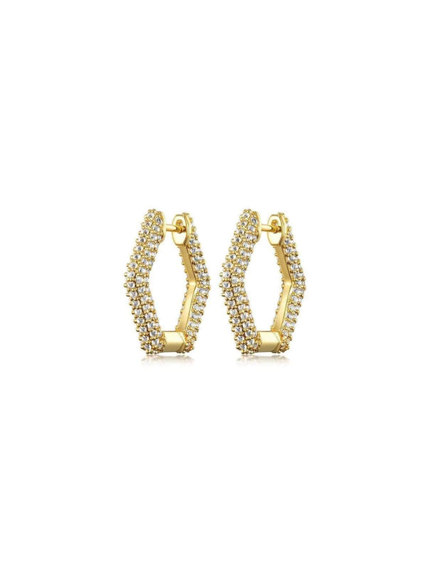 F+H | Remix Topaz Earrings Small - Brass + 14K Gold + Topaz | Perlu