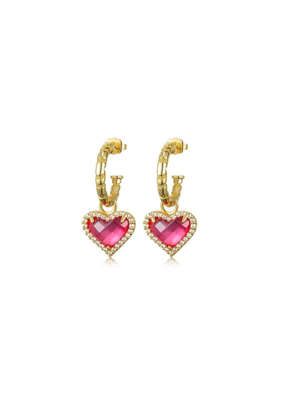 F+H | Whitney Gemstone Heart Earrings: Brass + 18K Gold + Corundum Crystal