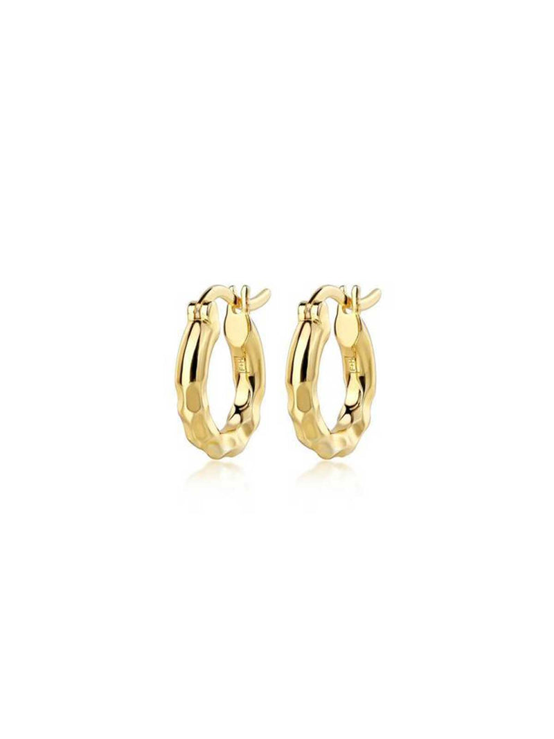F+H Low Ride Hammered Hoops Gold | Perlu