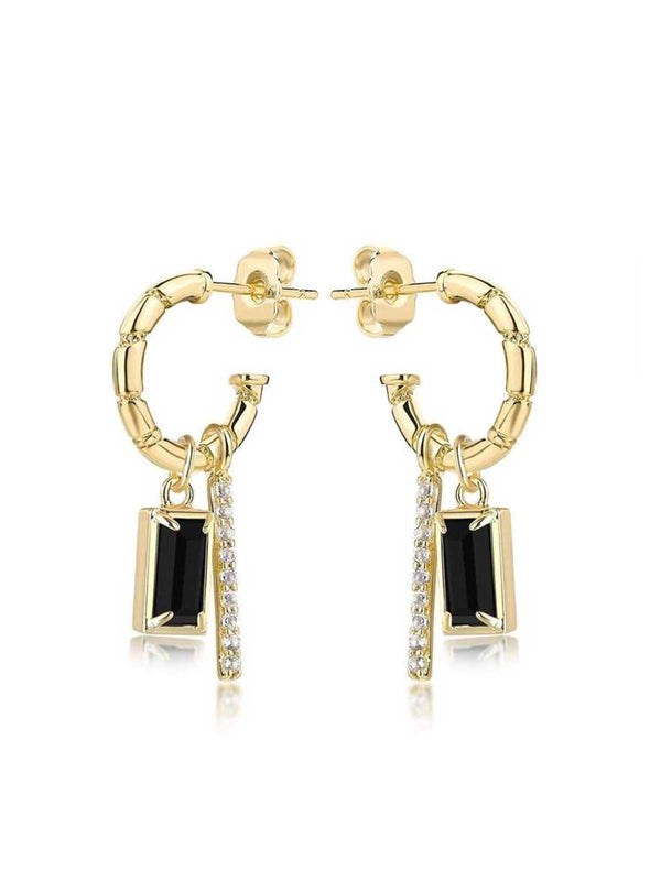 F+H Madonna Charm Earrings Onyx | Perlu