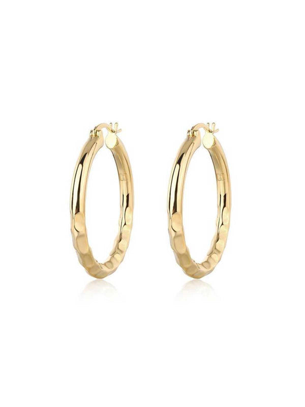 F+H Easy Ride Hammered Hoops Small Gold | Perlu