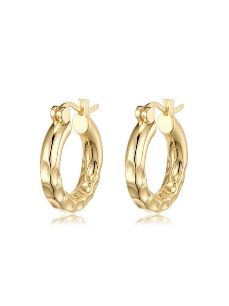 F+H Thickk Ride Hammered Hoops Gold | Perlu