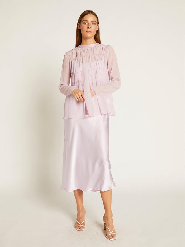 Ginia Finley Gathered Top - Lilac | Perlu