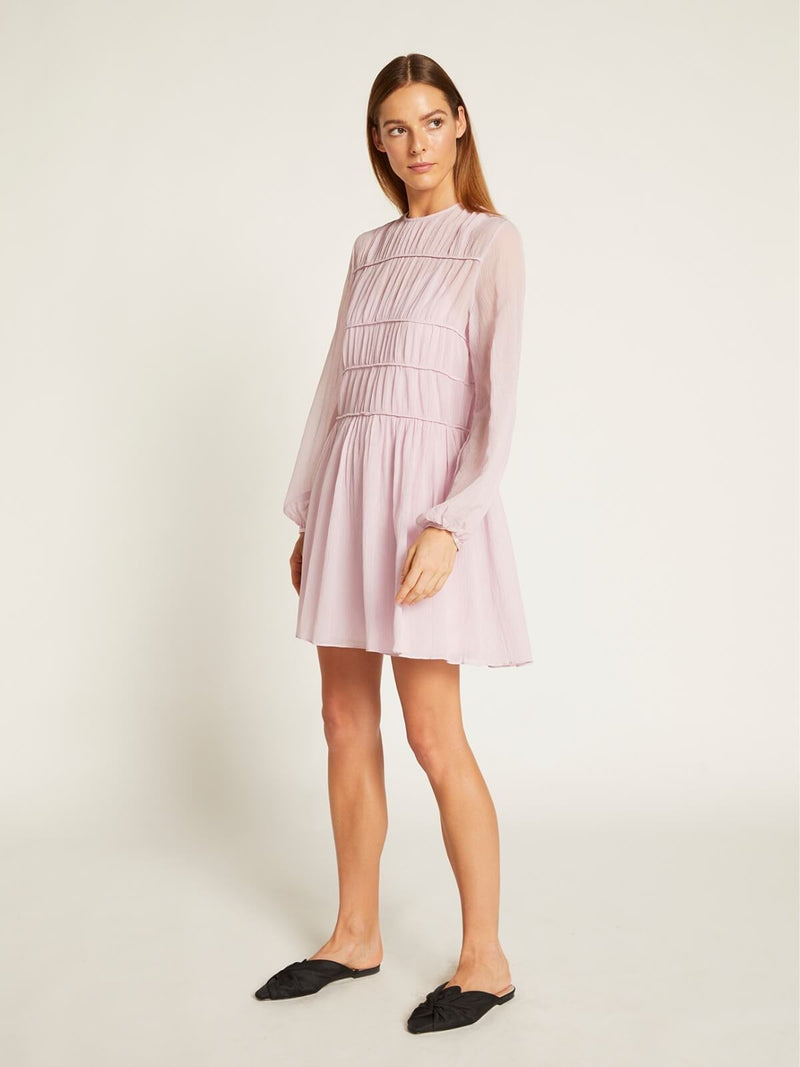 Ginia Gathered Dress Lilac | Perlu