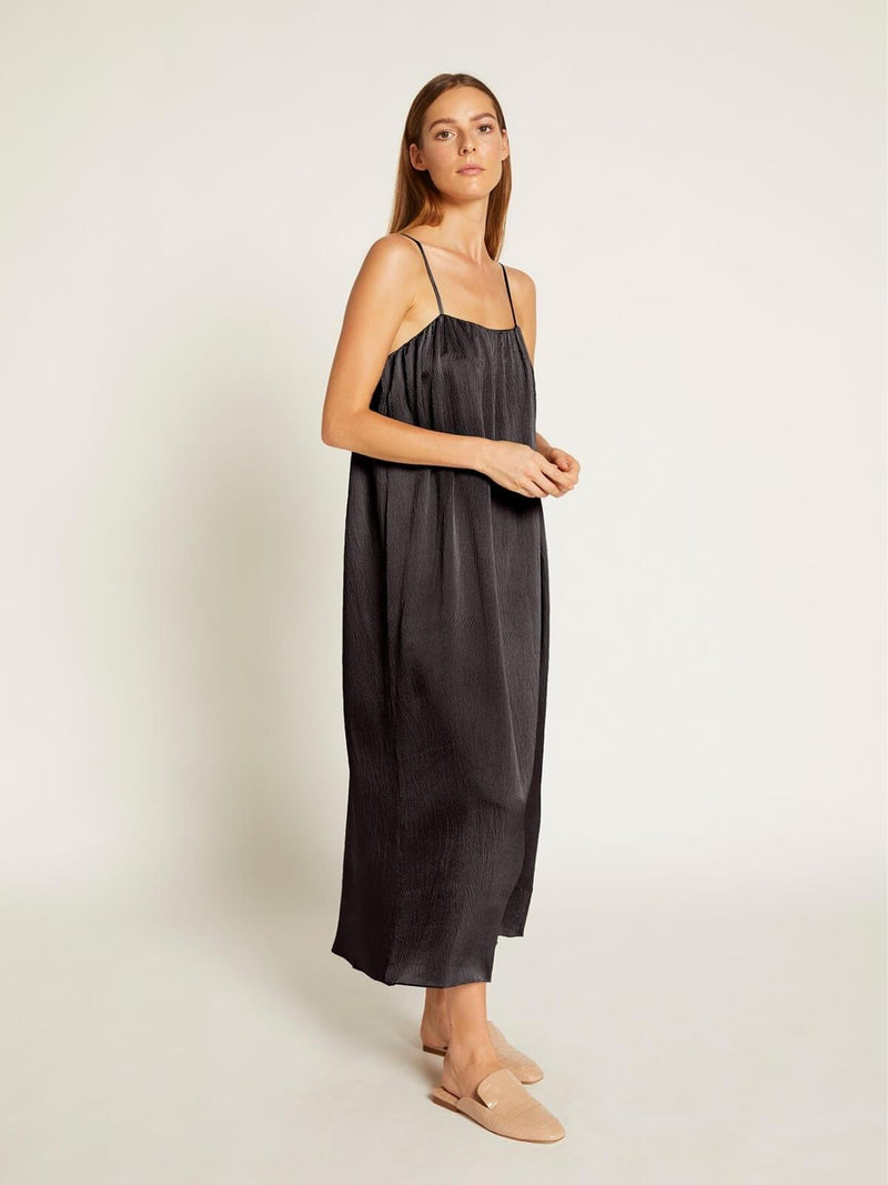 Ginia Hammered Silk Avery Maxi Dress Black | Perlu