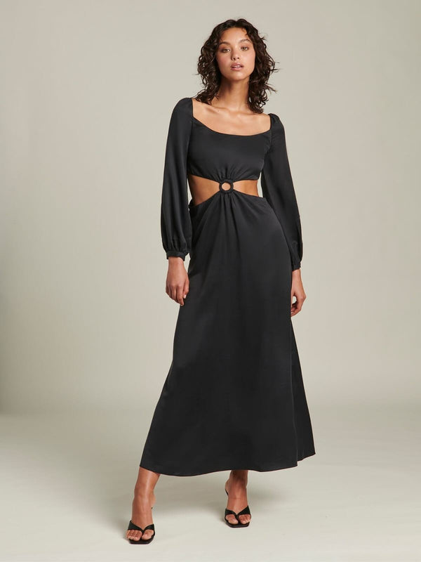 Ginia Sabrina Long Sleeve Dress Black | Perlu
