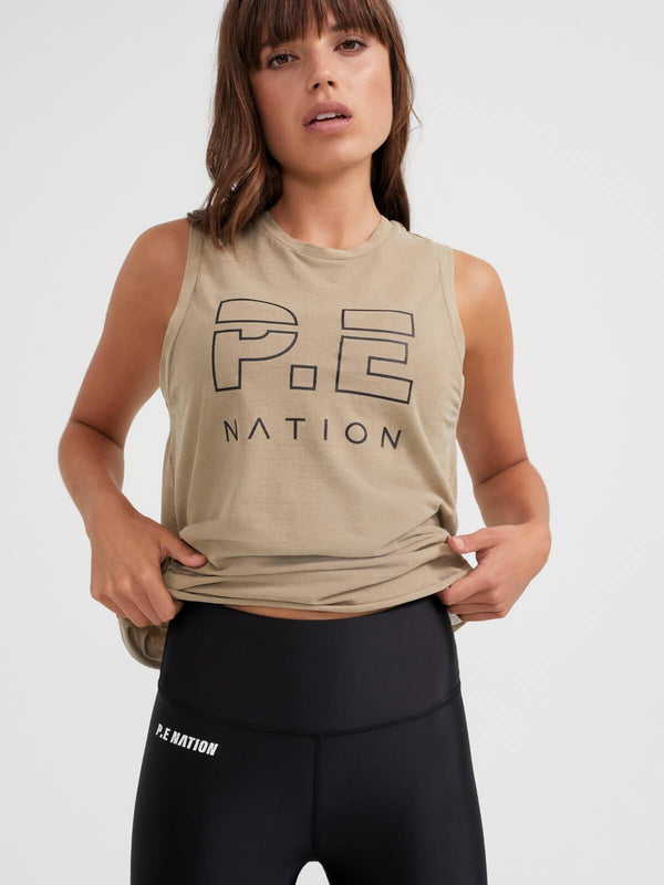 P.E Nation High Twist Shuffle Tank - Olive Gray | Perlu