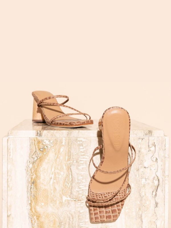 James Smith Amore Mio Strappy Sandal - Brown Croc | Perlu