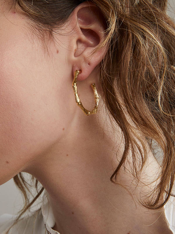 Cane Hoops Gold Earrings Jolie & Deen