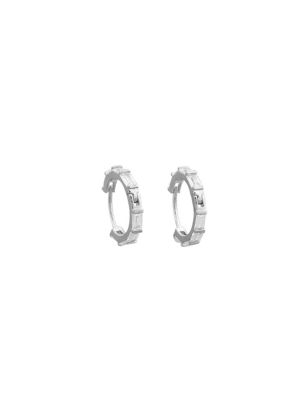Chelsea Crystal Sleepers Earrings Jolie & Deen Silver